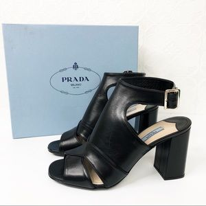 💜Prada Black Leather Cutout Open Toe Heel